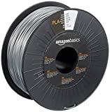 AmazonBasics - Filamento per stampanti 3D, in polilattato (PLA), 1,75mm, argento, 1 kg per bobina