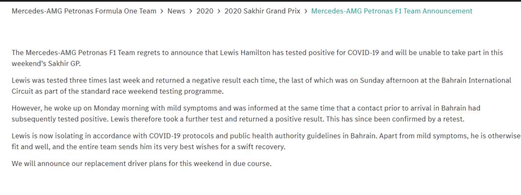 Comunicato Mercedes-AMG Petronas F1 Team