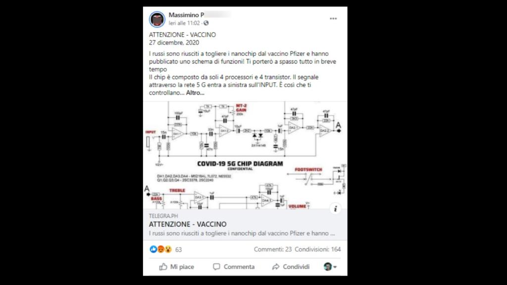 Uno dei tanti post in cui si condivide la notizia del microchip nel vaccino. Credits: Open