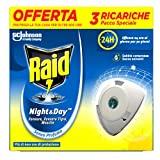 Raid Night & Day Ricarica Antizanzare Elettrico, Repellente Zanzare Inodore a Sabbia Compressa, 3 Ricariche