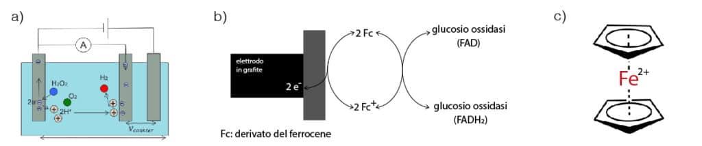 Funzionamento del sensore ad elettrodo in platino per la misura di H2O2. b) Funzionamento del sensore a ferrocene. c) Struttura del ferrocene